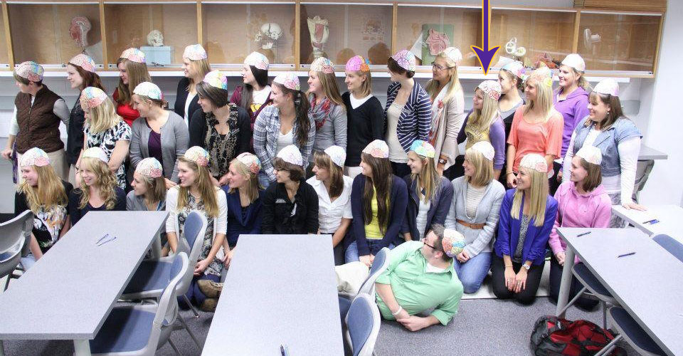 The first-year grads and our brain hats!