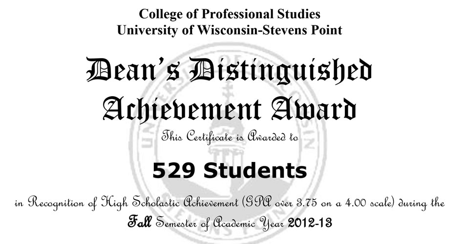 CPS dean's list reaches record number for fall 2012