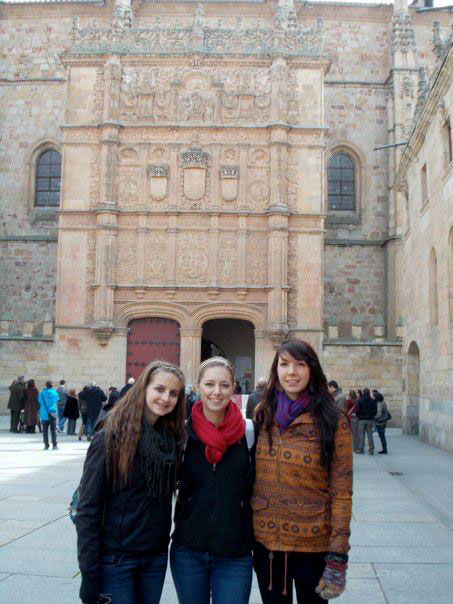 Aly Rudy, Alaina Dedo and I in front of the university.