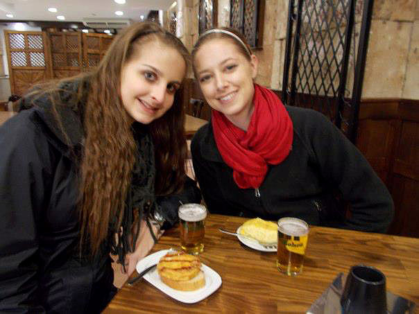 Aly and I with tapas in Salamanca.