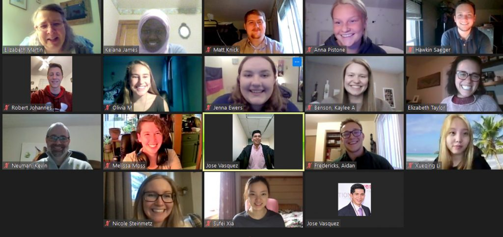 Kae James (top row, second) moderated a Zoom session as a part of her internship with the Smiley Professional Events program
