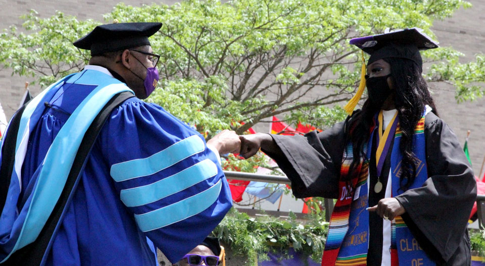 Kae James with Chancellor Tom Gibson at Commencement