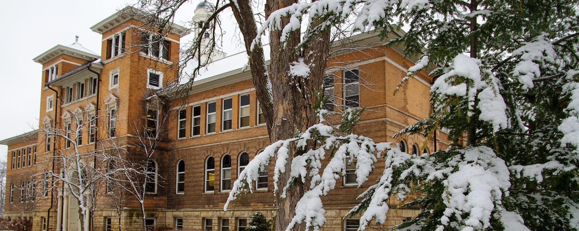 UW-Stevens Point Old Main Hall in winter