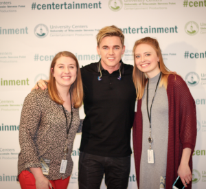 UWSP students pose with Jesse McCartney during a concert in January.