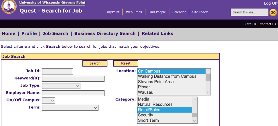 Job Search example in Quest