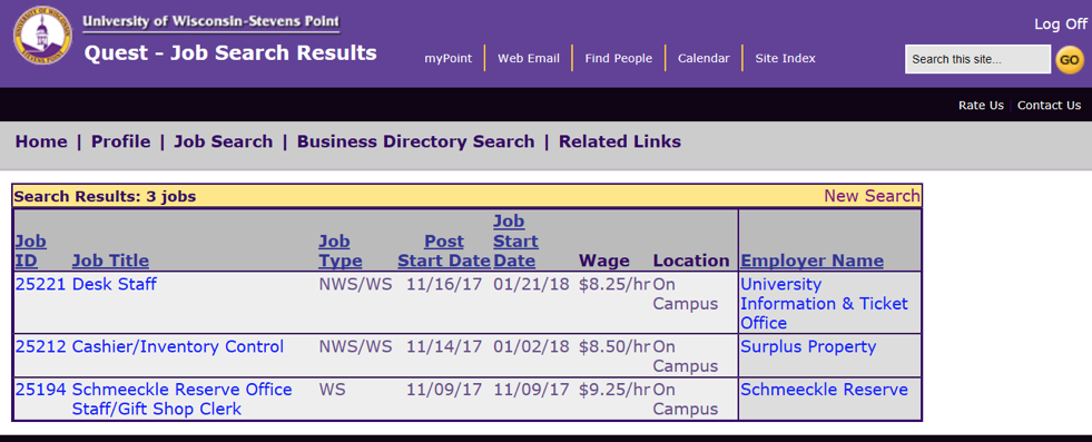 Quest Job Listing