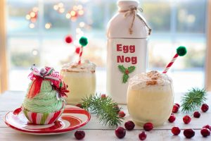 eggnog with candy canes