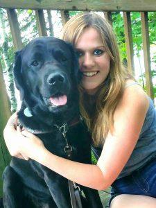 Shannon Columb and guide dog Fraiser